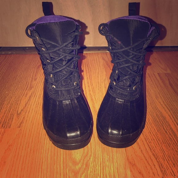 Black And Purple Sperry Rain Boots